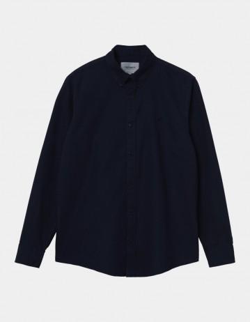 Carhartt Wip L/S Bolton Shirt Dark Navy . - Product Photo 1