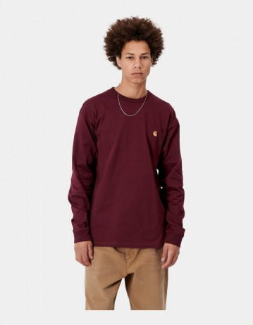 Carhartt Wip L/S Chase T-Shirt Bordeaux / Gold . - Product Photo 1