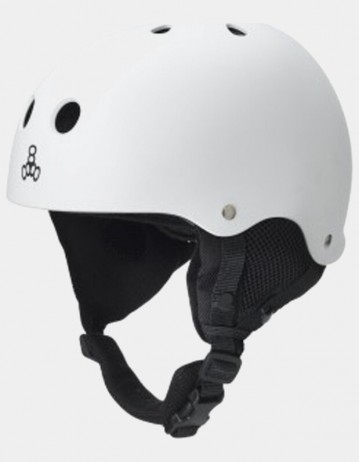 Triple Eight Old School Brainsaver Snowboard Helmet With Audio - White. - Product Photo 1