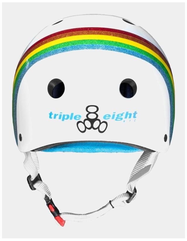 Triple Eight The Certified Sweatsaver Helmet - Rainbow White. - Safety Helmet  - Cover Photo 2