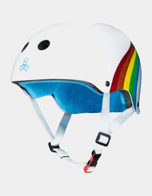 Triple Eight The Certified Sweatsaver Helmet - Rainbow White. - Safety Helmet  - Cover Photo 3