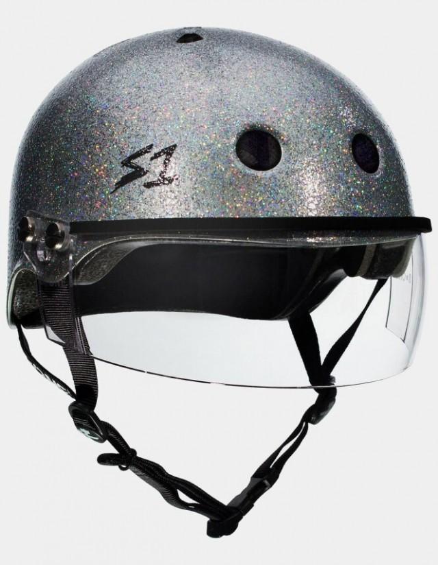 S-One Lifer Visor Gloss Glitter Helmet Silver. - Safety Helmet  - Cover Photo 3