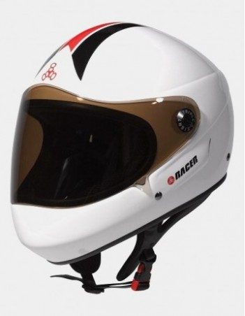 Triple Eight Racer Downhill Longboard Helmet White. - Safety Helmet - Miniature Photo 3