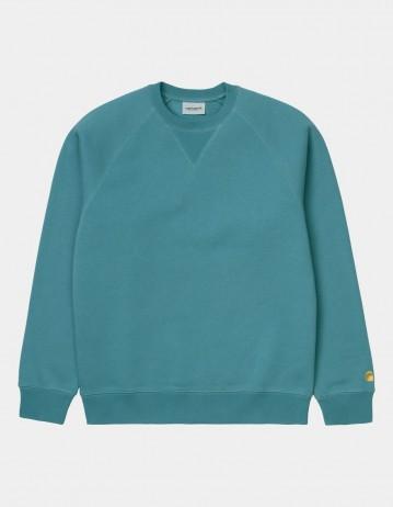 Carhartt Wip Chase Sweatshirt Hydro / Gold. - Product Photo 1