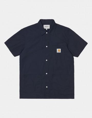 Carhartt Wip S/S Creek Shirt Dark Navy. - Product Photo 1