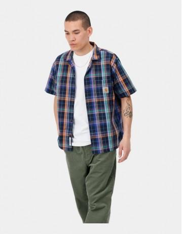 Carhartt Wip S/S Vilay Shirt Vilay Check, Dark Navy. - Product Photo 1