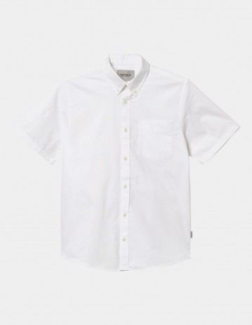 Carhartt Wip S/S Button Down Pocket Shirt White. - Product Photo 1
