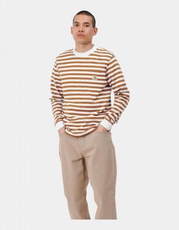 Carhartt Wip L/S Scotty Pocket T-Shirt Scotty Stripe, Rum / White. - Product Photo 1