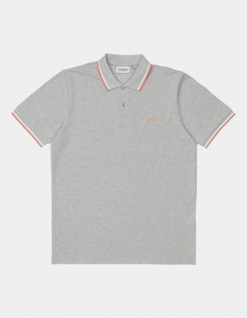 Carhartt Wip S/S Script Embroidery Polo Grey Heather / White / Shrimp. - Product Photo 1