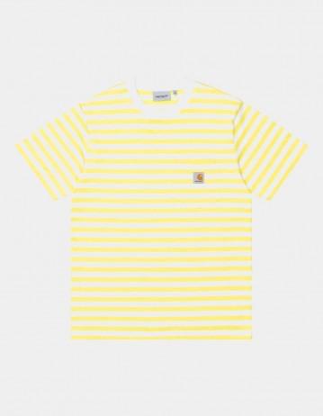 Carhartt Wip S/S Scotty Pocket T-Shirt Scotty Stripe, Limoncello / White. - Product Photo 1
