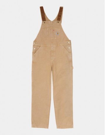 Carhartt Wip Bib Overall Dusty H Brown Worn Canvas. - Product Photo 1