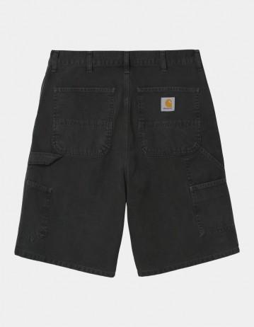 Carhartt Wip Single Knee Short Black Worn Canvas. - Product Photo 1