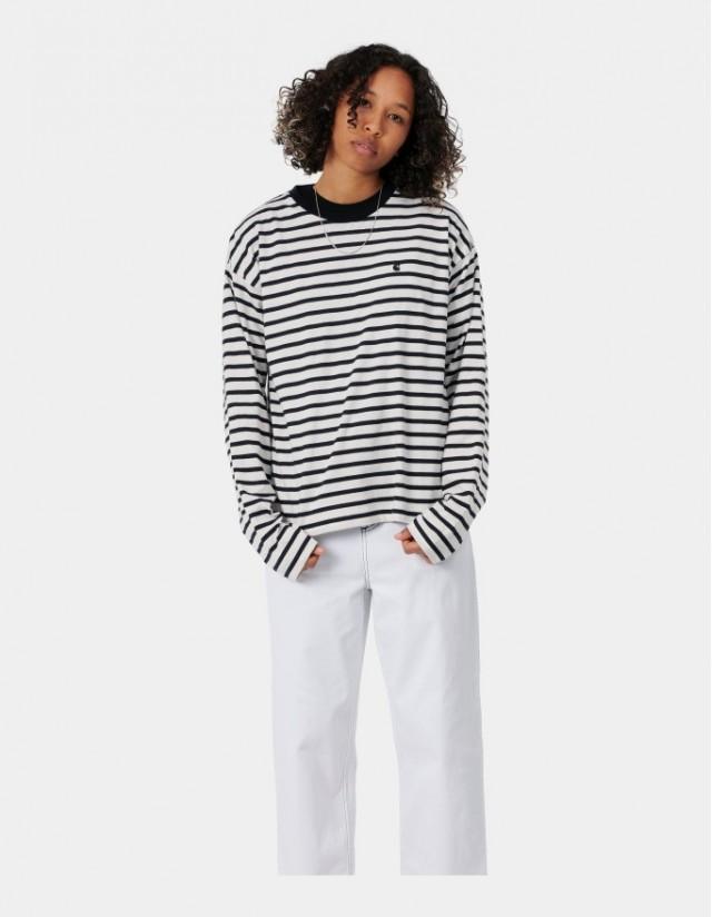 Carhartt Wip W L/S Robie T-Shirt Robie Stripe, Wax / Black. - Women's T-Shirt  - Cover Photo 1