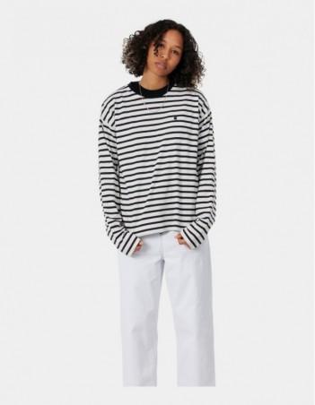 Carhartt WIP W L/S Robie T-Shirt Robie Stripe, Wax / Black. - Women's T-Shirt - Miniature Photo 1