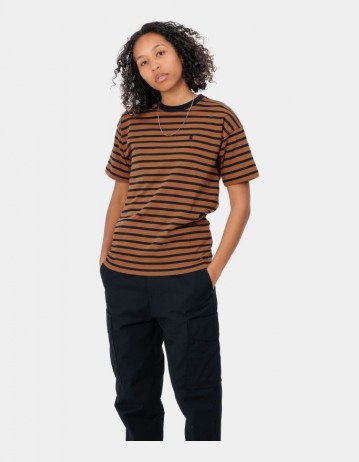 Carhartt Wip W S/S Robie T-Shirt Robie Stripe, Rum / Black. - Product Photo 1