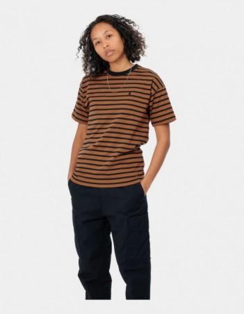 Carhartt WIP W S/S Robie T-Shirt Robie Stripe, Rum / Black. - Women's T-Shirt - Miniature Photo 1