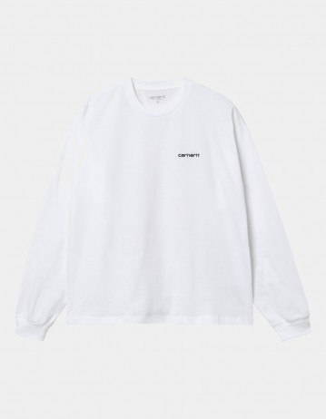 Carhartt Wip W L/S Script Embroidery T-Shirt White / Black. - Product Photo 1