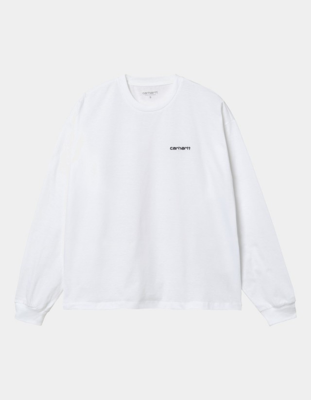 Carhartt Wip W L/S Script Embroidery T-Shirt White / Black. - Women's T-Shirt  - Cover Photo 1