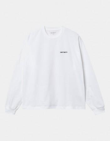 Carhartt WIP W L/S Script Embroidery T-Shirt White / Black. - Women's T-Shirt - Miniature Photo 1