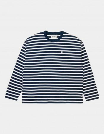 Carhartt WIP W L/S Robie T-Shirt Robie Stripe, Dark Navy / White. - Women's T-Shirt - Miniature Photo 1