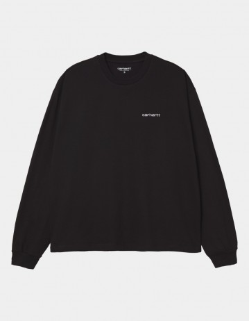 Carhartt Wip W L/S Script Embroidery T-Shirt Black / White. - Product Photo 1