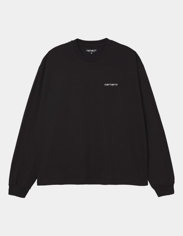 Carhartt Wip W L/S Script Embroidery T-Shirt Black / White. - Women's T-Shirt  - Cover Photo 1