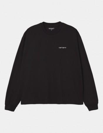 Carhartt WIP W L/S Script Embroidery T-Shirt Black / White. - Women's T-Shirt - Miniature Photo 1