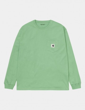 Carhartt Wip W L/S Pocket T-Shirt Mineral Green. - Product Photo 1