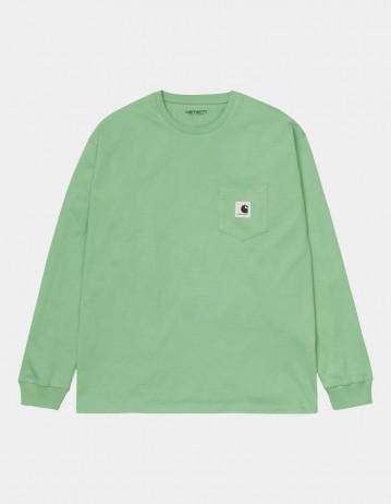Carhartt Wip W L/S Pocket T-Shirt Mineral Green. - Product Photo 1