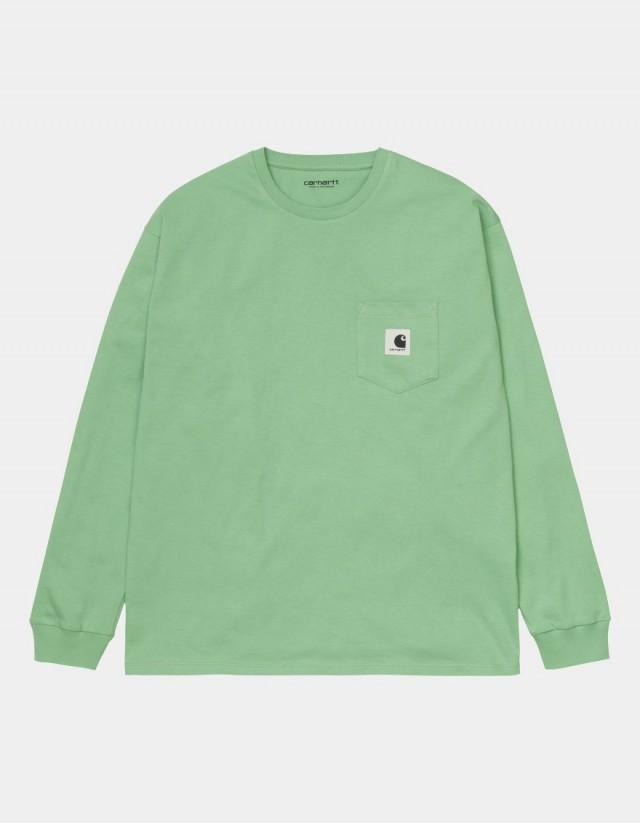 Carhartt Wip W L/S Pocket T-Shirt Mineral Green. - Women's T-Shirt  - Cover Photo 1