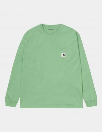 Carhartt WIP W L/S Pocket T-Shirt Mineral Green. - Women's T-Shirt - Miniature Photo 1