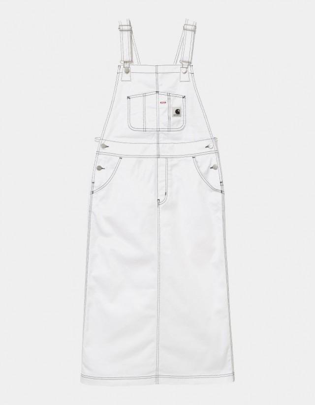 Carhartt Wip W Bib Skirt Long White Rinsed. - Women's Overalls  - Cover Photo 1
