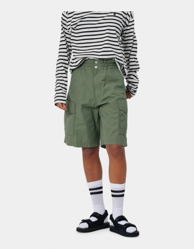 Carhartt Wip W Denver Short Dollar Green Stone Washed. - Shorts  - Cover Photo 1