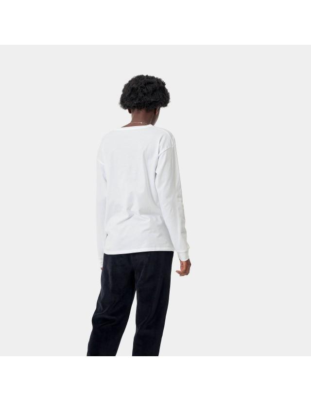 Carhartt Wip W L/S Pocket T-Shirt White. - Women's T-Shirt  - Cover Photo 2