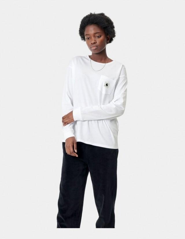 Carhartt Wip W L/S Pocket T-Shirt White. - Women's T-Shirt  - Cover Photo 1