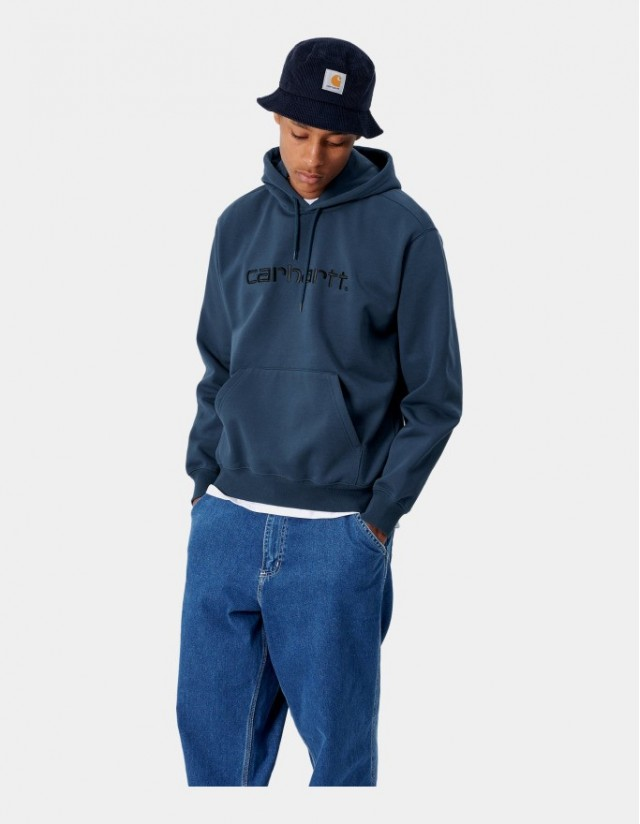 Carhartt Wip Hooded Carhartt Sweatshirt Admiral / Black. - Men's Sweatshirt  - Cover Photo 1