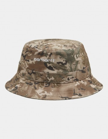Carhartt Wip Script Bucket Hat Camo Combi, Desert / White. - Product Photo 1
