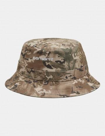 Carhartt Wip Script Bucket Hat Camo Combi, Desert / White. - Product Photo 1