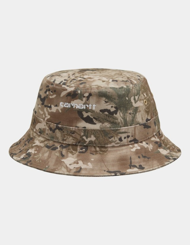 Carhartt Wip Script Bucket Hat Camo Combi, Desert / White. - Cap  - Cover Photo 1